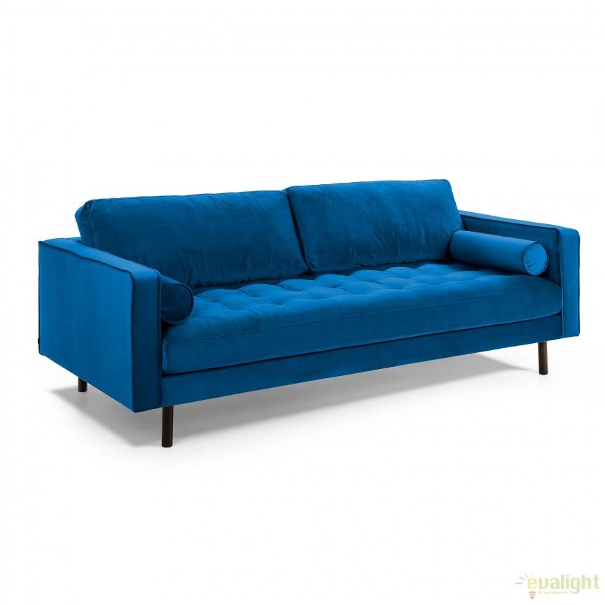 Canapea fixa 3 locuri BOGART, catifea albastru inchis S548JU25 JG, Canapele - Coltare, Corpuri de iluminat, lustre, aplice, veioze, lampadare, plafoniere. Mobilier si decoratiuni, oglinzi, scaune, fotolii. Oferte speciale iluminat interior si exterior. Livram in toata tara.  a