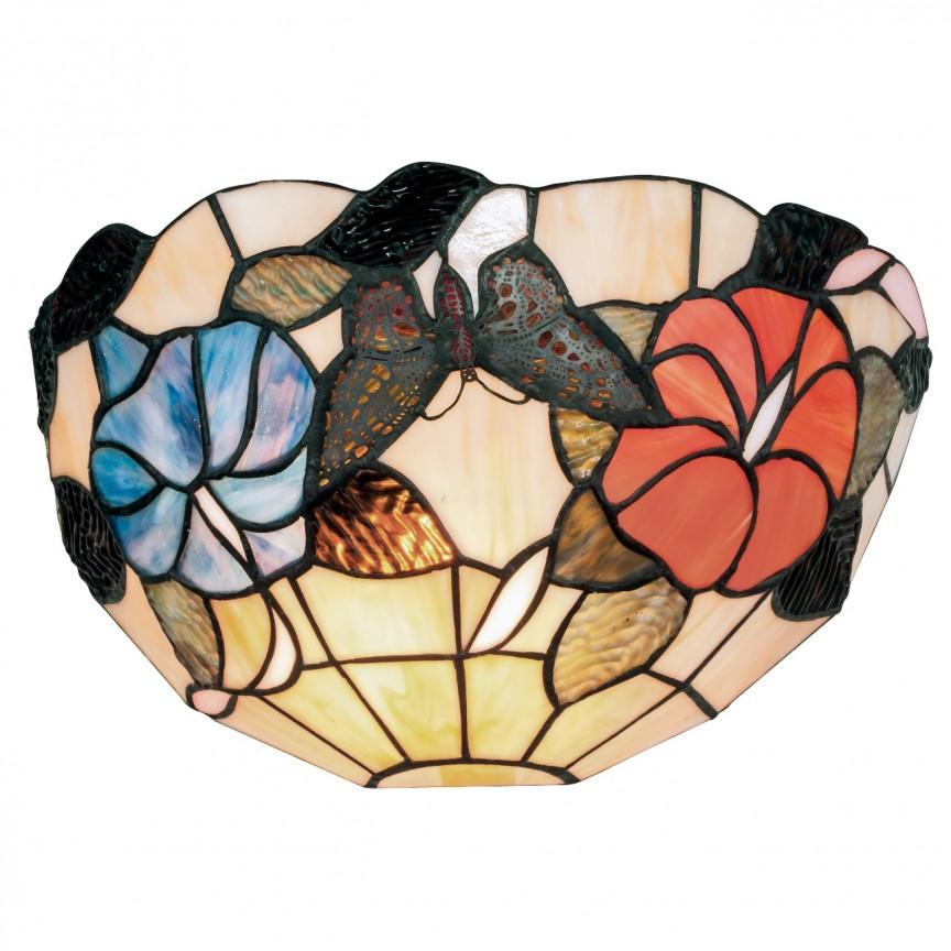 Aplica cu sticla tiffany Ninfa I-NINFA-AP FE, Aplice de perete clasice, Corpuri de iluminat, lustre, aplice, veioze, lampadare, plafoniere. Mobilier si decoratiuni, oglinzi, scaune, fotolii. Oferte speciale iluminat interior si exterior. Livram in toata tara.  a