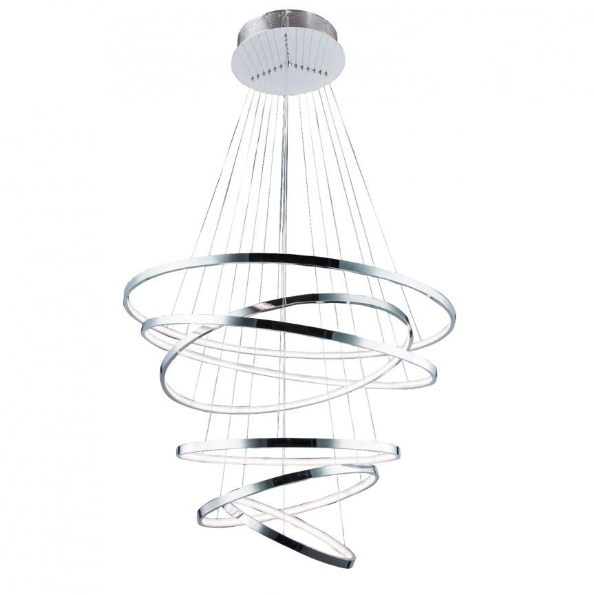 Lustra LED design modern casa scarii Wheel 6 crom, Lustre casa scarii, Corpuri de iluminat, lustre, aplice, veioze, lampadare, plafoniere. Mobilier si decoratiuni, oglinzi, scaune, fotolii. Oferte speciale iluminat interior si exterior. Livram in toata tara.  a
