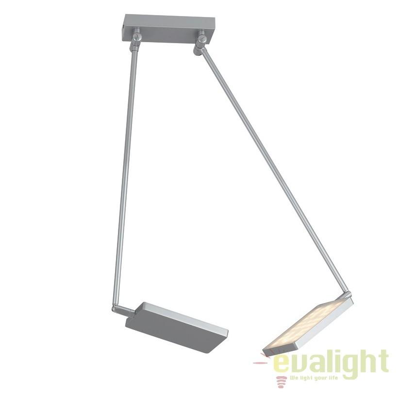Lustra LED directionabila, design modern Led book, gri LED-BOOK-PL-GR FE, Spoturi - iluminat - cu 2 spoturi, Corpuri de iluminat, lustre, aplice, veioze, lampadare, plafoniere. Mobilier si decoratiuni, oglinzi, scaune, fotolii. Oferte speciale iluminat interior si exterior. Livram in toata tara.  a