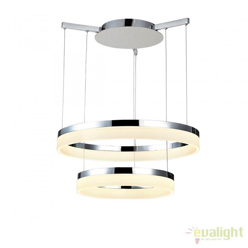 Lustra LED design modern Ø60cm Zola CHROME, Lustre LED, Pendule LED, Corpuri de iluminat, lustre, aplice, veioze, lampadare, plafoniere. Mobilier si decoratiuni, oglinzi, scaune, fotolii. Oferte speciale iluminat interior si exterior. Livram in toata tara.  a