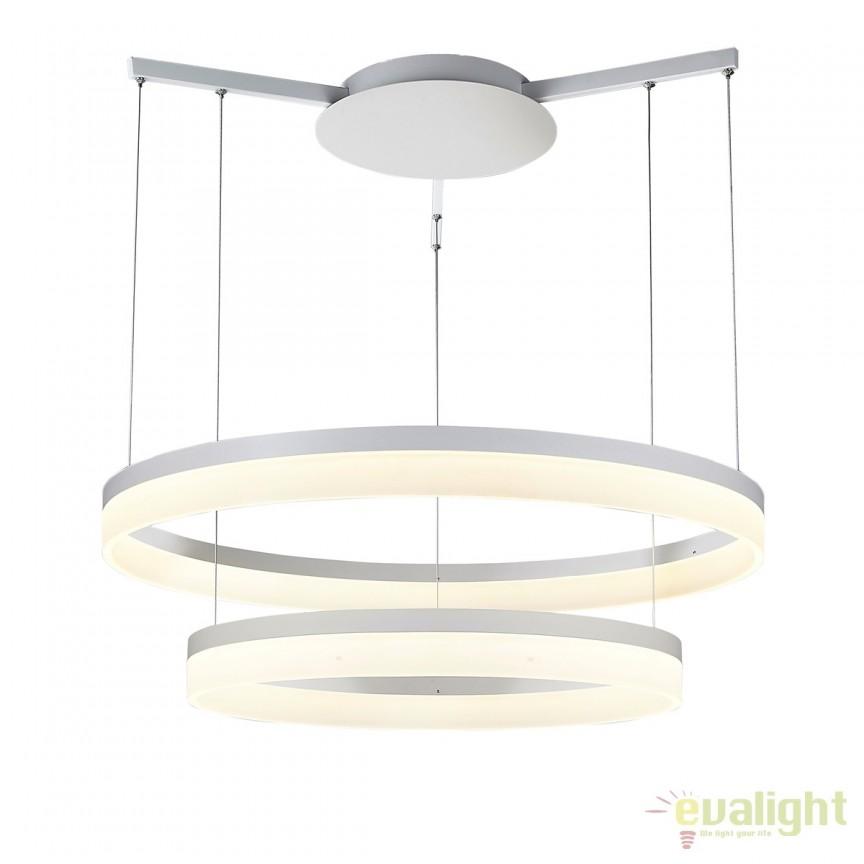 Lustra LED design modern Ø80cm Zola WHITE, Lustre LED, Pendule LED, Corpuri de iluminat, lustre, aplice, veioze, lampadare, plafoniere. Mobilier si decoratiuni, oglinzi, scaune, fotolii. Oferte speciale iluminat interior si exterior. Livram in toata tara.  a