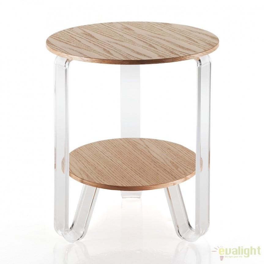 Masuta cu picioare acrilice transparente POOLE Wood 3287 FTP, Masute de cafea, Corpuri de iluminat, lustre, aplice, veioze, lampadare, plafoniere. Mobilier si decoratiuni, oglinzi, scaune, fotolii. Oferte speciale iluminat interior si exterior. Livram in toata tara.  a