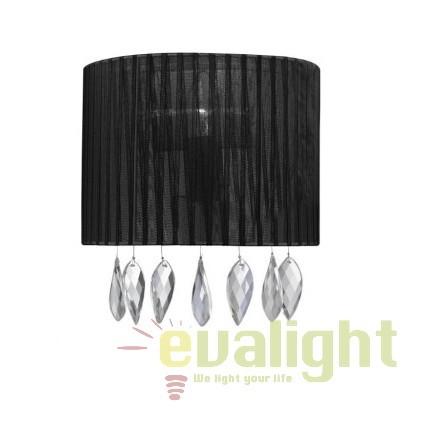 Aplica perete design elegant SIDNEY BLACK, Aplice de perete clasice, Corpuri de iluminat, lustre, aplice, veioze, lampadare, plafoniere. Mobilier si decoratiuni, oglinzi, scaune, fotolii. Oferte speciale iluminat interior si exterior. Livram in toata tara.  a