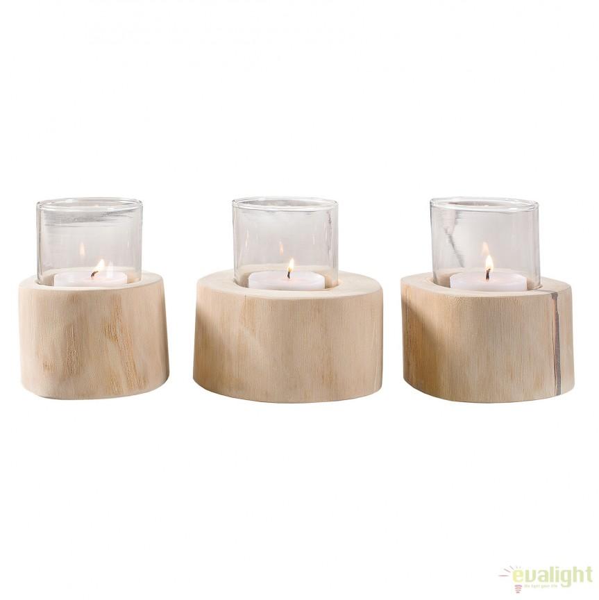 Set de 3 lumanari din lemn de tec si sticla Limotion A-38247 VC, Parfumuri de camera- Idei cadouri- Obiecte decorative, Corpuri de iluminat, lustre, aplice, veioze, lampadare, plafoniere. Mobilier si decoratiuni, oglinzi, scaune, fotolii. Oferte speciale iluminat interior si exterior. Livram in toata tara.  a