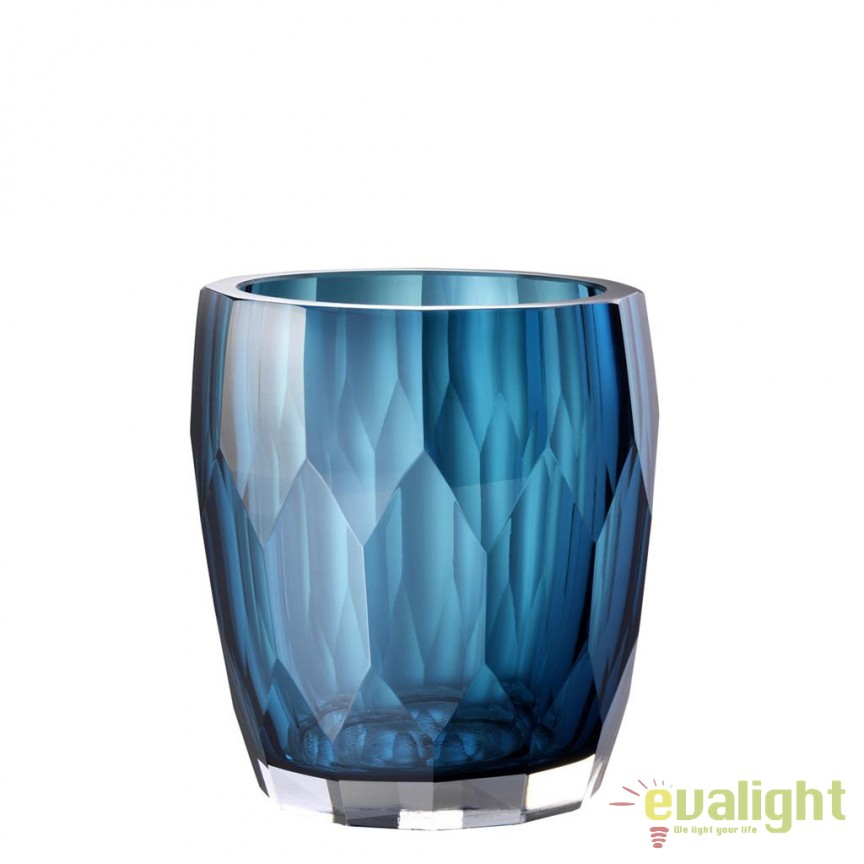 Vas decorativ din sticla design elegant Marquis albastru 112581 HZ, Vaze, Ghivece decorative, Corpuri de iluminat, lustre, aplice, veioze, lampadare, plafoniere. Mobilier si decoratiuni, oglinzi, scaune, fotolii. Oferte speciale iluminat interior si exterior. Livram in toata tara.  a