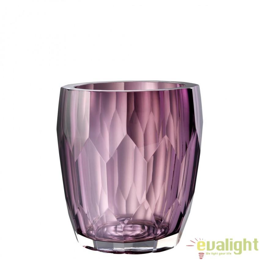 Vas decorativ din sticla design elegant Marquis violet 112582 HZ, Vaze, Ghivece decorative, Corpuri de iluminat, lustre, aplice, veioze, lampadare, plafoniere. Mobilier si decoratiuni, oglinzi, scaune, fotolii. Oferte speciale iluminat interior si exterior. Livram in toata tara.  a