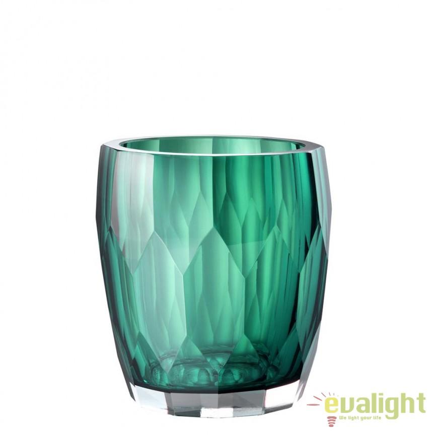 Vas decorativ din sticla design elegant Marquis verde 112583 HZ, Vaze, Ghivece decorative, Corpuri de iluminat, lustre, aplice, veioze, lampadare, plafoniere. Mobilier si decoratiuni, oglinzi, scaune, fotolii. Oferte speciale iluminat interior si exterior. Livram in toata tara.  a