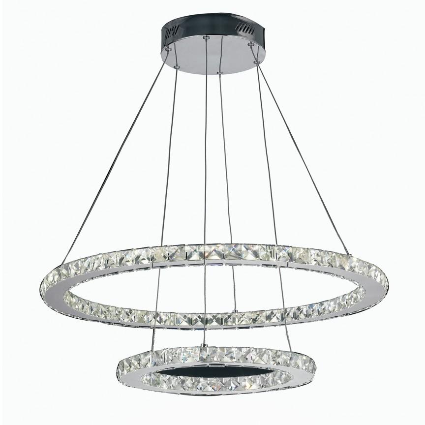 Lustra LED eleganta cu doua inele si cristale K9 Melody D-70cm, LED-MELODY/S7040 FE, Candelabre, Lustre moderne, Corpuri de iluminat, lustre, aplice, veioze, lampadare, plafoniere. Mobilier si decoratiuni, oglinzi, scaune, fotolii. Oferte speciale iluminat interior si exterior. Livram in toata tara.  a