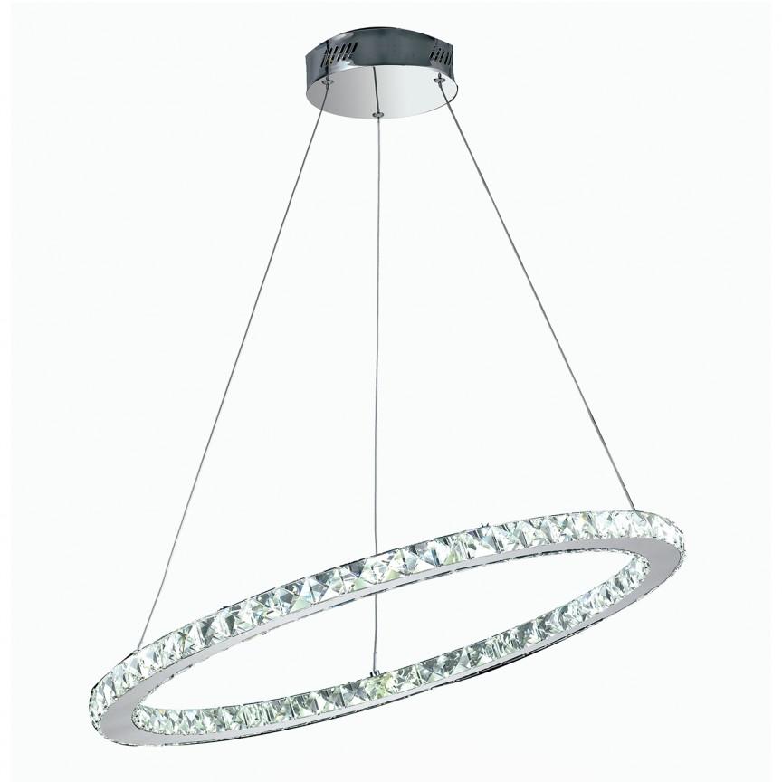 Lustra LED eleganta cu cristale K9 Melody D-70cm, LED-MELODY/S70 FE, Candelabre, Lustre moderne, Corpuri de iluminat, lustre, aplice, veioze, lampadare, plafoniere. Mobilier si decoratiuni, oglinzi, scaune, fotolii. Oferte speciale iluminat interior si exterior. Livram in toata tara.  a