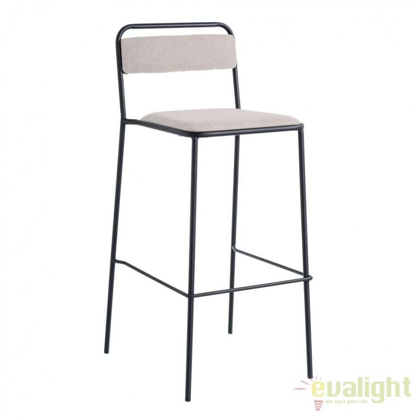 Set de 2 scaune bar Negro, tesatura bej SX-105364, Scaune de bar, Corpuri de iluminat, lustre, aplice, veioze, lampadare, plafoniere. Mobilier si decoratiuni, oglinzi, scaune, fotolii. Oferte speciale iluminat interior si exterior. Livram in toata tara.  a