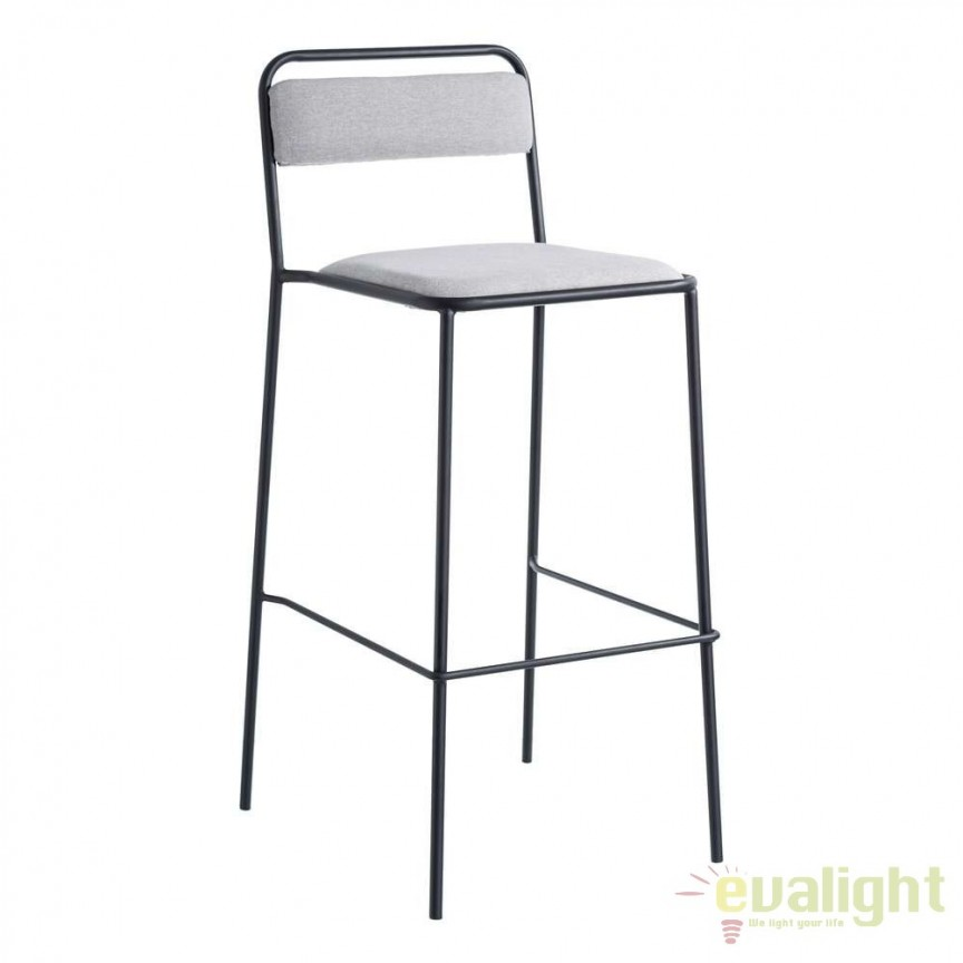Set de 2 scaune bar Negro, tesatura gri SX-105366, Scaune de bar, Corpuri de iluminat, lustre, aplice, veioze, lampadare, plafoniere. Mobilier si decoratiuni, oglinzi, scaune, fotolii. Oferte speciale iluminat interior si exterior. Livram in toata tara.  a