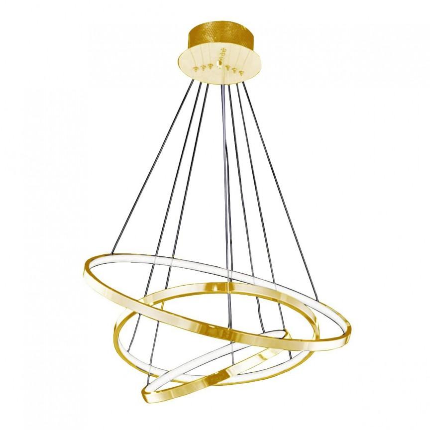 Lustra LED dimabila design modern Wheel 3 Big auriu, Lustre LED, Pendule LED, Corpuri de iluminat, lustre, aplice, veioze, lampadare, plafoniere. Mobilier si decoratiuni, oglinzi, scaune, fotolii. Oferte speciale iluminat interior si exterior. Livram in toata tara.  a