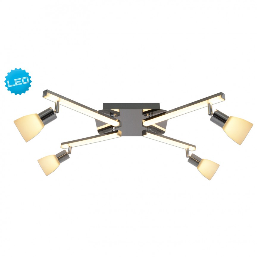 Plafoniera LED cu brate si spoturi directionabile Ibiza 1233442 NV, Spoturi - iluminat - cu 4 spoturi, Corpuri de iluminat, lustre, aplice, veioze, lampadare, plafoniere. Mobilier si decoratiuni, oglinzi, scaune, fotolii. Oferte speciale iluminat interior si exterior. Livram in toata tara.  a