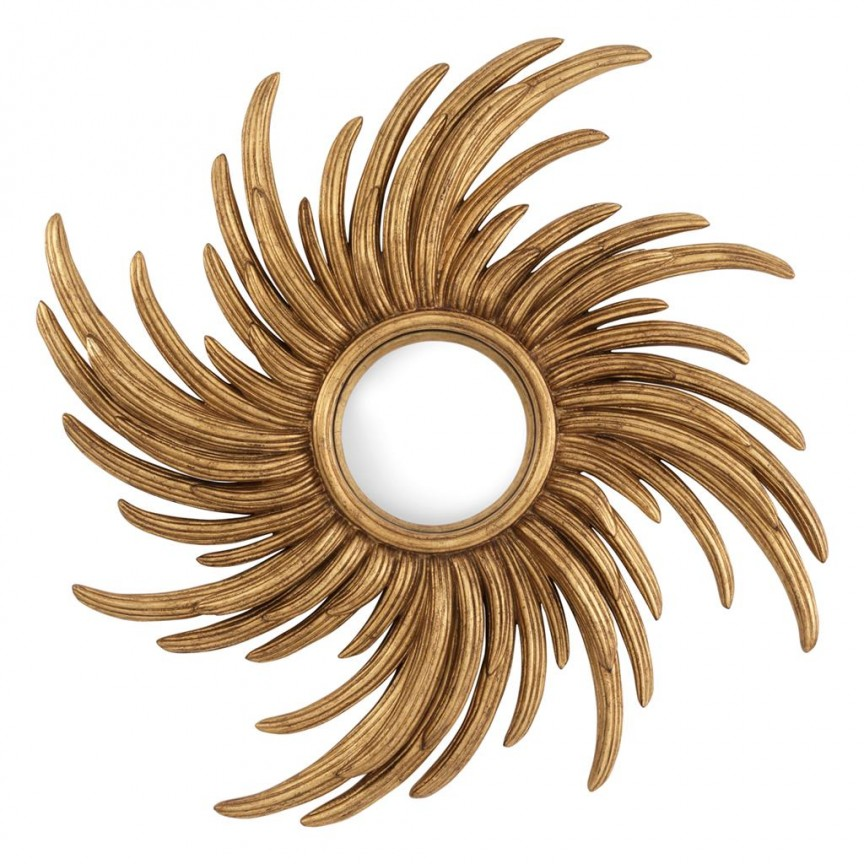 Oglinda decorativa LUX Lunaris diam.100cm auriu finisaj antic 112836 HZ, Oglinzi decorative, Corpuri de iluminat, lustre, aplice, veioze, lampadare, plafoniere. Mobilier si decoratiuni, oglinzi, scaune, fotolii. Oferte speciale iluminat interior si exterior. Livram in toata tara.  a