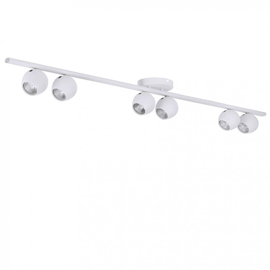 Plafoniera cu spoturi design modern PERA 6 white, Spoturi - iluminat - cu 5 si 6 spoturi, Corpuri de iluminat, lustre, aplice, veioze, lampadare, plafoniere. Mobilier si decoratiuni, oglinzi, scaune, fotolii. Oferte speciale iluminat interior si exterior. Livram in toata tara.  a