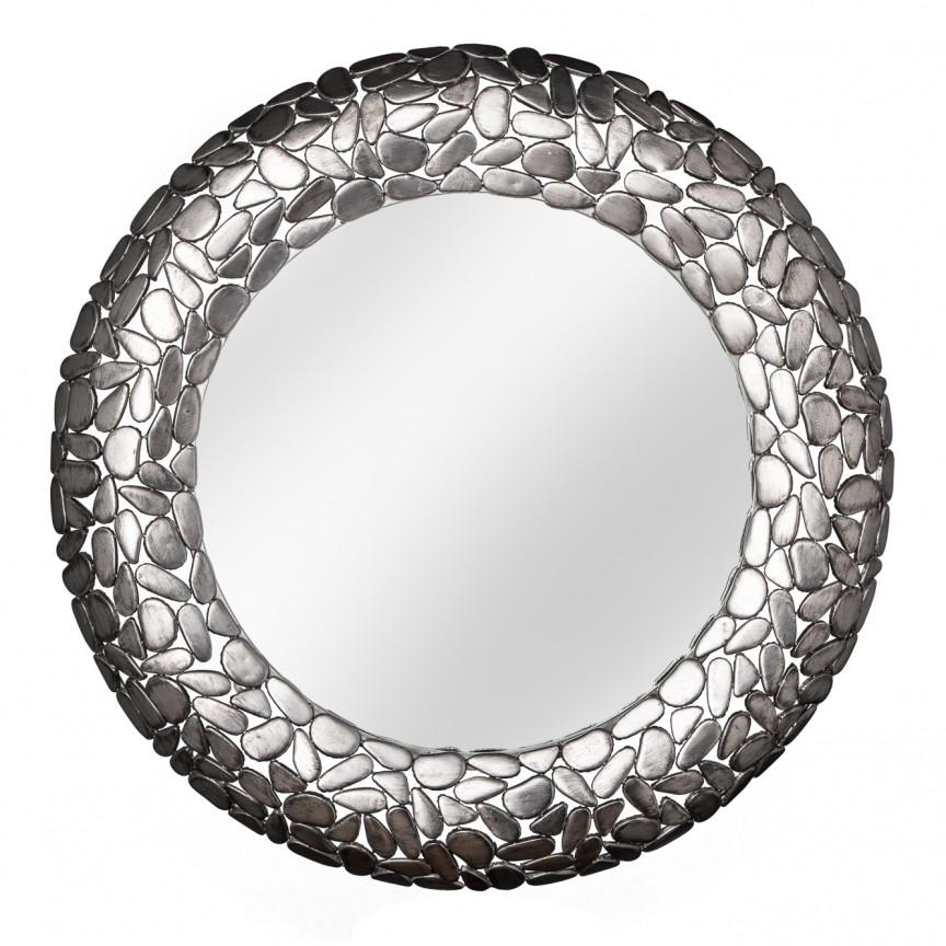 Oglinda decorativa design unicat Stone Mosaic 82cm, argintiu A-38724 VC, Oglinzi decorative, Corpuri de iluminat, lustre, aplice, veioze, lampadare, plafoniere. Mobilier si decoratiuni, oglinzi, scaune, fotolii. Oferte speciale iluminat interior si exterior. Livram in toata tara.  a