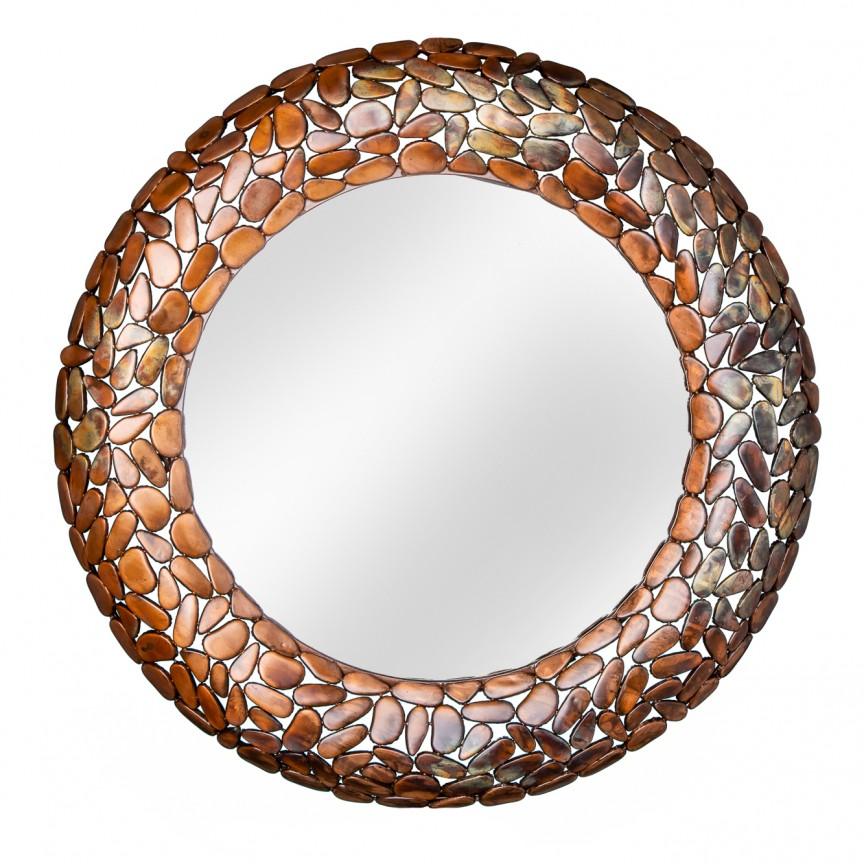 Oglinda decorativa design unicat Stone Mosaic 82cm, cupru A-38743 VC, Oglinzi decorative, Corpuri de iluminat, lustre, aplice, veioze, lampadare, plafoniere. Mobilier si decoratiuni, oglinzi, scaune, fotolii. Oferte speciale iluminat interior si exterior. Livram in toata tara.  a