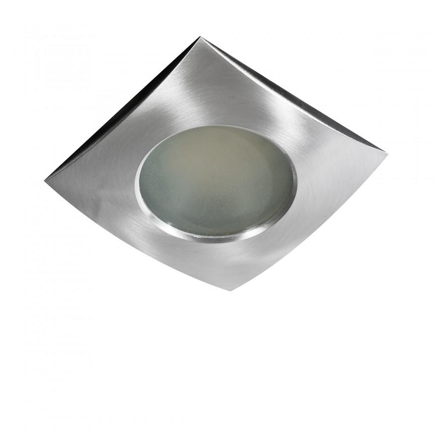 Spot pentru baie incastrabil Ezio 1 aluminiu, Plafoniere cu protectie pentru baie, Corpuri de iluminat, lustre, aplice, veioze, lampadare, plafoniere. Mobilier si decoratiuni, oglinzi, scaune, fotolii. Oferte speciale iluminat interior si exterior. Livram in toata tara.  a