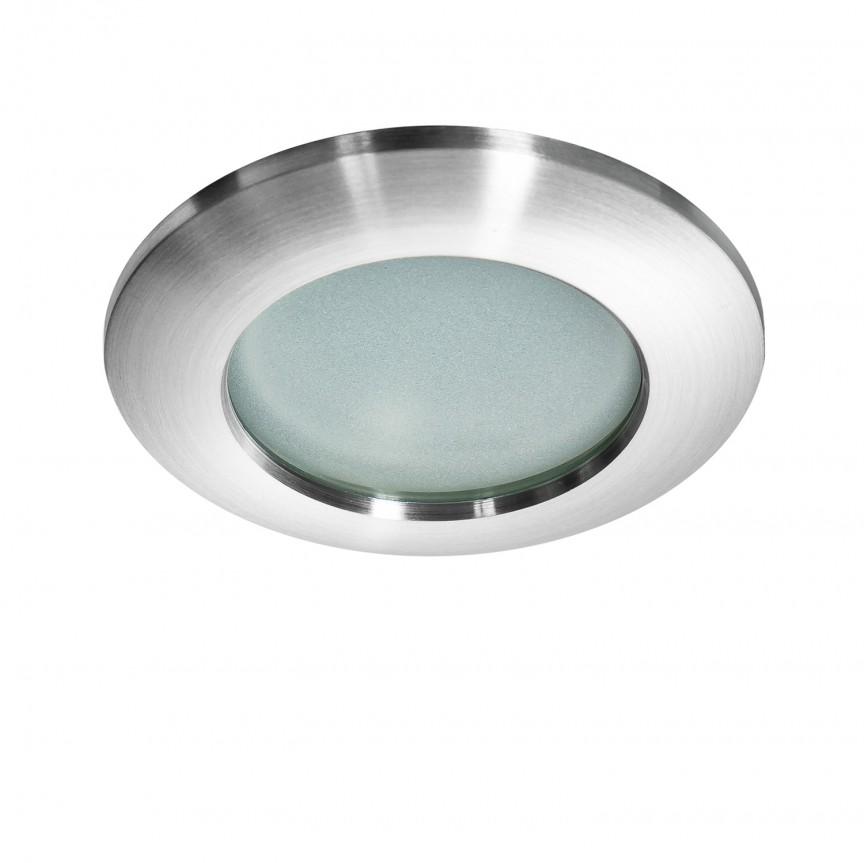 Spot pentru baie incastrabil Emilio 1 aluminiu, Spoturi incastrate - tavan fals / perete, Corpuri de iluminat, lustre, aplice, veioze, lampadare, plafoniere. Mobilier si decoratiuni, oglinzi, scaune, fotolii. Oferte speciale iluminat interior si exterior. Livram in toata tara.  a