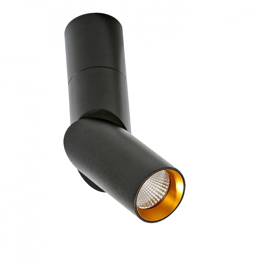 Spot LED modern directionabil aplicat tavan/plafon Santos negru, Spoturi aplicate - tavan / perete, Corpuri de iluminat, lustre, aplice, veioze, lampadare, plafoniere. Mobilier si decoratiuni, oglinzi, scaune, fotolii. Oferte speciale iluminat interior si exterior. Livram in toata tara.  a