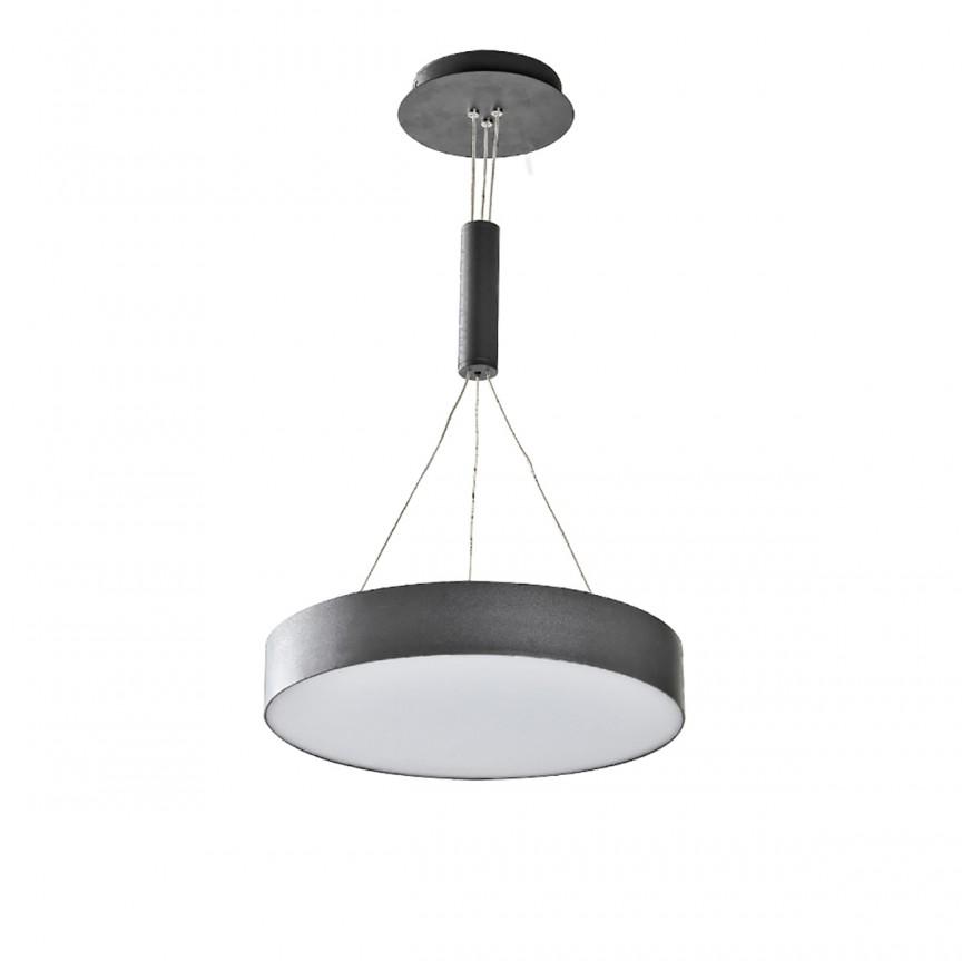 Lustra LED suspendata MONZA R 40 4000K neagra, Lustre LED, Pendule LED, Corpuri de iluminat, lustre, aplice, veioze, lampadare, plafoniere. Mobilier si decoratiuni, oglinzi, scaune, fotolii. Oferte speciale iluminat interior si exterior. Livram in toata tara.  a