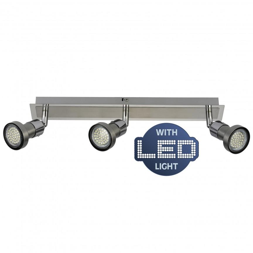 Plafoniera cu 3 spoturi GU10 LED Motril 1133342 NV, Spoturi - iluminat - cu 3 spoturi, Corpuri de iluminat, lustre, aplice, veioze, lampadare, plafoniere. Mobilier si decoratiuni, oglinzi, scaune, fotolii. Oferte speciale iluminat interior si exterior. Livram in toata tara.  a