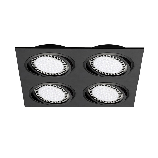 Plafoniera incastrabila cu 4 spoturi directionabile BOXY DL 4, negru 20073-BK ZL,  a