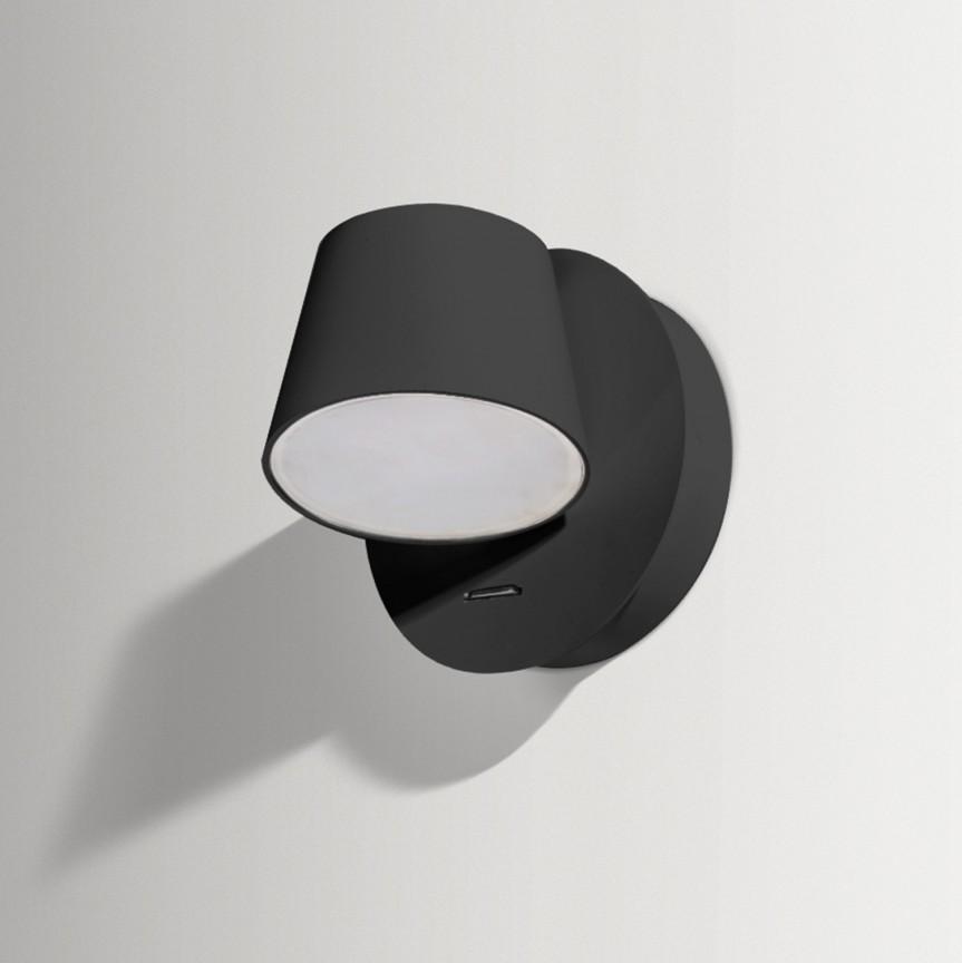 Aplica perete LED design modern RAMONA 1 neagra, Aplice de perete LED, Corpuri de iluminat, lustre, aplice, veioze, lampadare, plafoniere. Mobilier si decoratiuni, oglinzi, scaune, fotolii. Oferte speciale iluminat interior si exterior. Livram in toata tara.  a