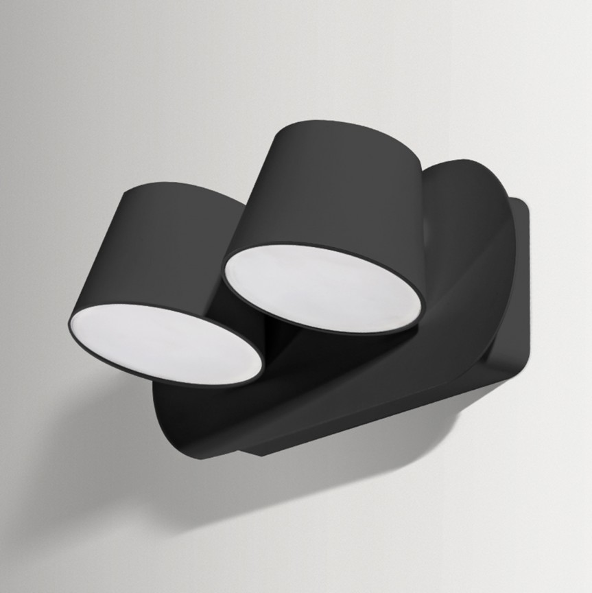 Aplica perete LED design modern RAMONA 2 neagra, Aplice de perete moderne, Corpuri de iluminat, lustre, aplice, veioze, lampadare, plafoniere. Mobilier si decoratiuni, oglinzi, scaune, fotolii. Oferte speciale iluminat interior si exterior. Livram in toata tara.  a