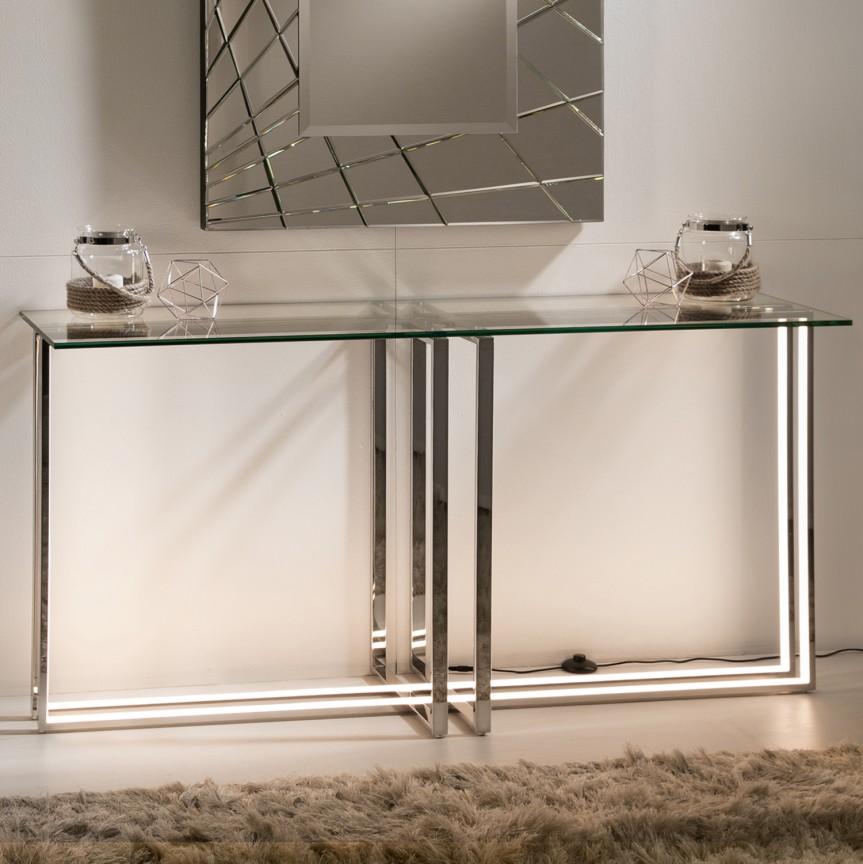 Consola design ultra-modern cu iluminat LED Aurea otel inoxidabil SV-586911, Console - Birouri, Corpuri de iluminat, lustre, aplice, veioze, lampadare, plafoniere. Mobilier si decoratiuni, oglinzi, scaune, fotolii. Oferte speciale iluminat interior si exterior. Livram in toata tara.  a