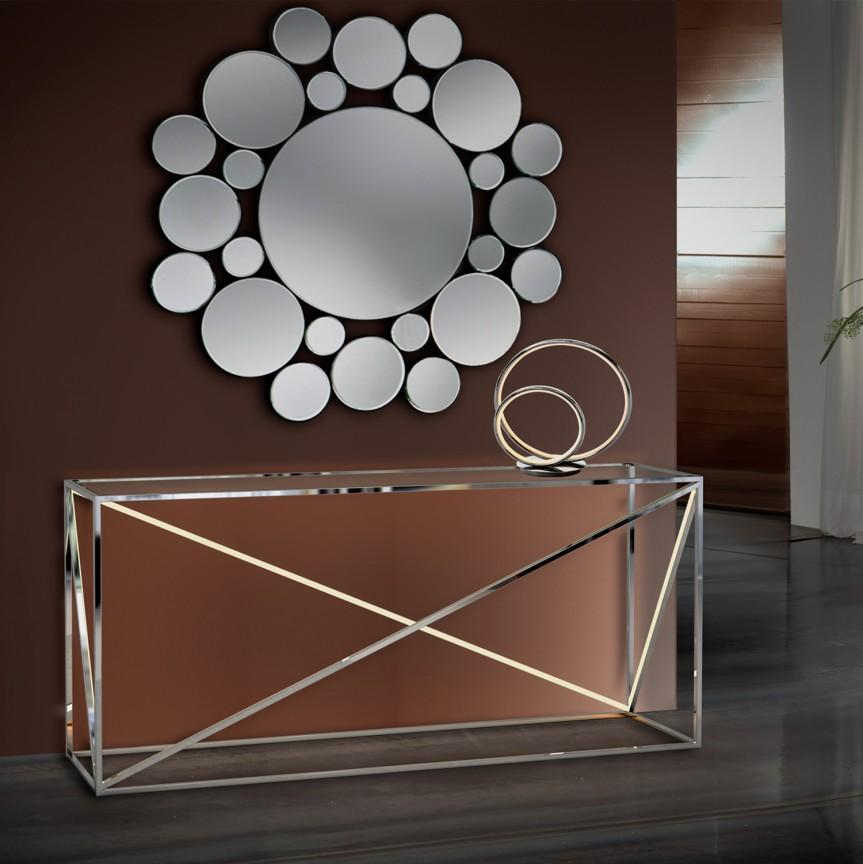 Consola design ultra-modern cu iluminat LED Moonlight otel inoxidabil SV-685483, Console - Birouri, Corpuri de iluminat, lustre, aplice, veioze, lampadare, plafoniere. Mobilier si decoratiuni, oglinzi, scaune, fotolii. Oferte speciale iluminat interior si exterior. Livram in toata tara.  a