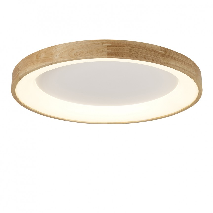 Lustra LED aplicata moderna design lemn natural Ø65cm Silvam, Plafoniere moderne, Corpuri de iluminat, lustre, aplice, veioze, lampadare, plafoniere. Mobilier si decoratiuni, oglinzi, scaune, fotolii. Oferte speciale iluminat interior si exterior. Livram in toata tara.  a