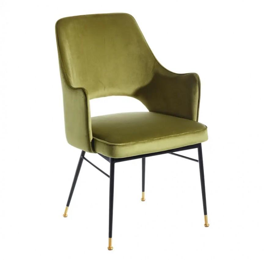 Set de 2 scaune cu brate elegante Carola, negru/ verde SX-107956, Seturi scaune dining, scaune HoReCa, Corpuri de iluminat, lustre, aplice, veioze, lampadare, plafoniere. Mobilier si decoratiuni, oglinzi, scaune, fotolii. Oferte speciale iluminat interior si exterior. Livram in toata tara.  a