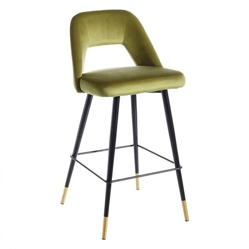 Set de 2 scaune de bar elegante Carola, negru/ verde SX-107951, Scaune de bar, Corpuri de iluminat, lustre, aplice, veioze, lampadare, plafoniere. Mobilier si decoratiuni, oglinzi, scaune, fotolii. Oferte speciale iluminat interior si exterior. Livram in toata tara.  a