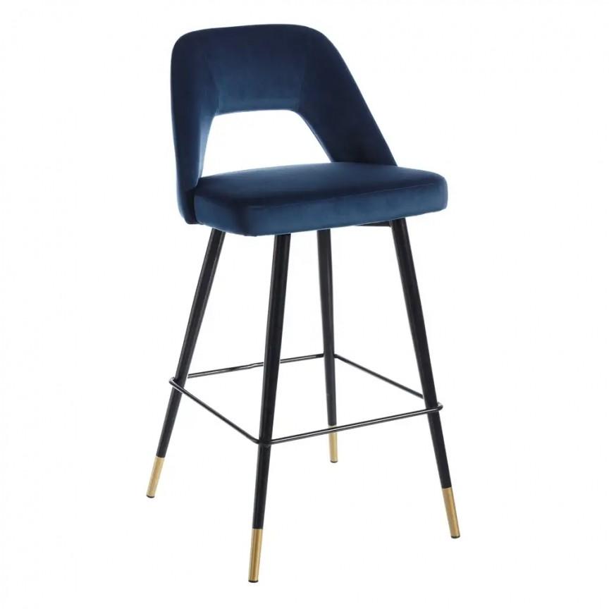Set de 2 scaune de bar elegante Carola, negru/ albastru SX-107952, Seturi scaune dining, scaune HoReCa, Corpuri de iluminat, lustre, aplice, veioze, lampadare, plafoniere. Mobilier si decoratiuni, oglinzi, scaune, fotolii. Oferte speciale iluminat interior si exterior. Livram in toata tara.  a
