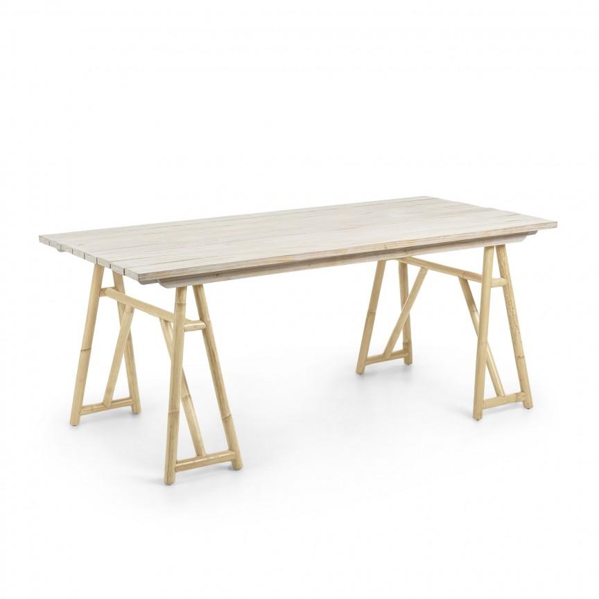 Masa din lemn si ratan pentru interior si exterior CREASSY, 180x85cm CC0704M46 JG, Mese dining, Corpuri de iluminat, lustre, aplice, veioze, lampadare, plafoniere. Mobilier si decoratiuni, oglinzi, scaune, fotolii. Oferte speciale iluminat interior si exterior. Livram in toata tara.  a