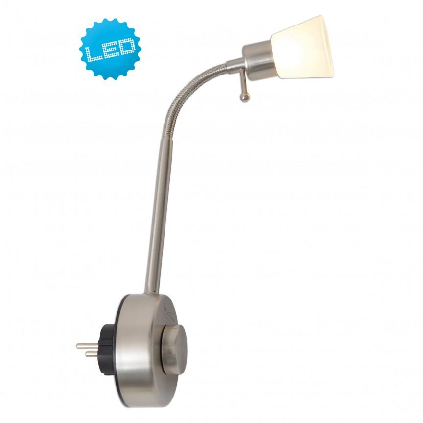 Lampa pentru priza cu spot LED dimabil Plugy 4070150 NV, Spoturi - iluminat - cu 1 spot, Corpuri de iluminat, lustre, aplice, veioze, lampadare, plafoniere. Mobilier si decoratiuni, oglinzi, scaune, fotolii. Oferte speciale iluminat interior si exterior. Livram in toata tara.  a