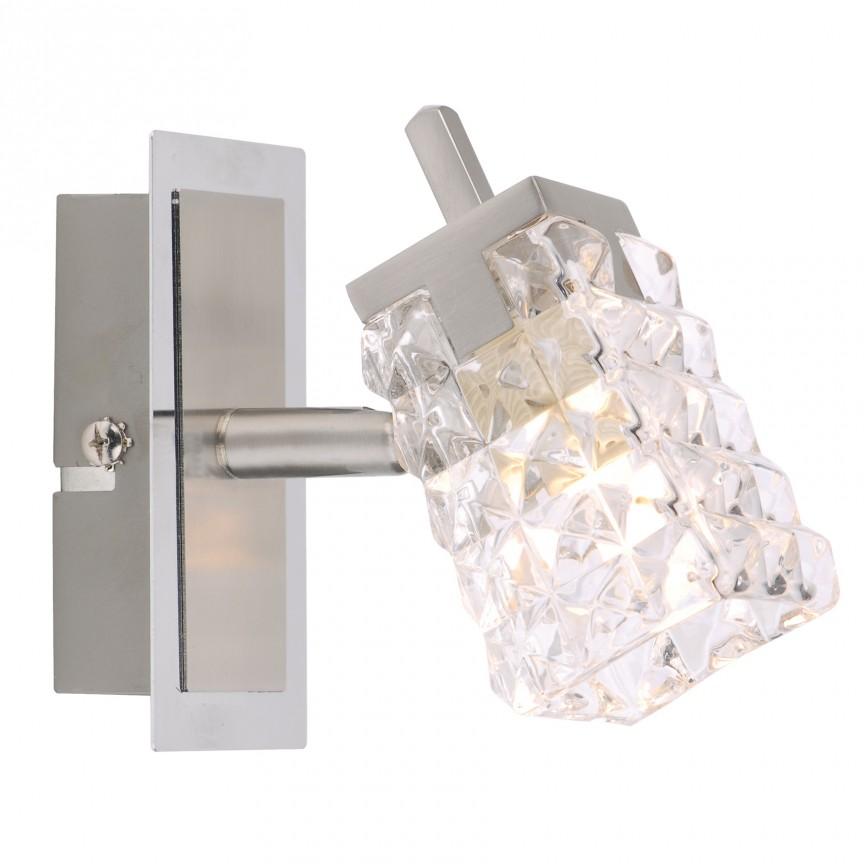 Aplica de perete cu spot Loreley 1016050 NV, Spoturi - iluminat - cu 1 spot, Corpuri de iluminat, lustre, aplice, veioze, lampadare, plafoniere. Mobilier si decoratiuni, oglinzi, scaune, fotolii. Oferte speciale iluminat interior si exterior. Livram in toata tara.  a
