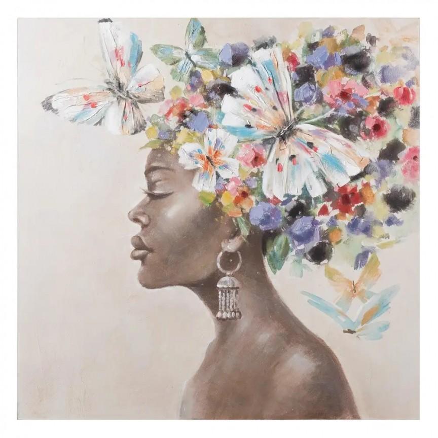 Tablou decorativ, pictura pe panza Africana, 100x100cm SX-108065, Corpuri de iluminat, lustre, aplice, veioze, lampadare, plafoniere. Mobilier si decoratiuni, oglinzi, scaune, fotolii. Oferte speciale iluminat interior si exterior. Livram in toata tara.