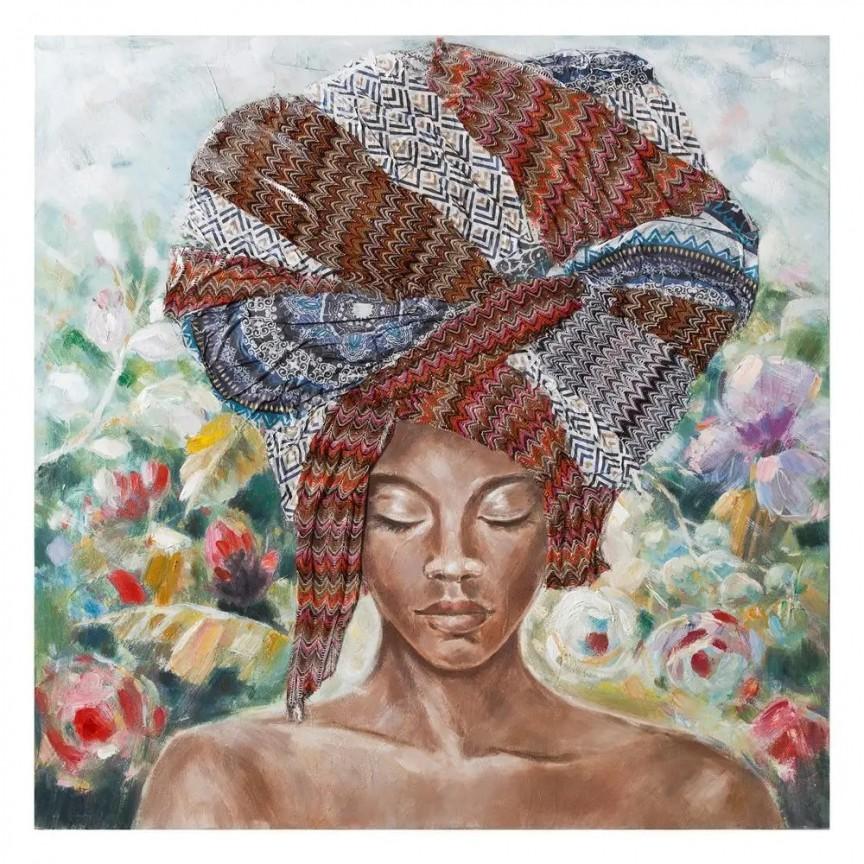 Tablou decorativ, pictura pe panza Africana, 120x120cm SX-108067, Tablouri decorative, Corpuri de iluminat, lustre, aplice, veioze, lampadare, plafoniere. Mobilier si decoratiuni, oglinzi, scaune, fotolii. Oferte speciale iluminat interior si exterior. Livram in toata tara.  a