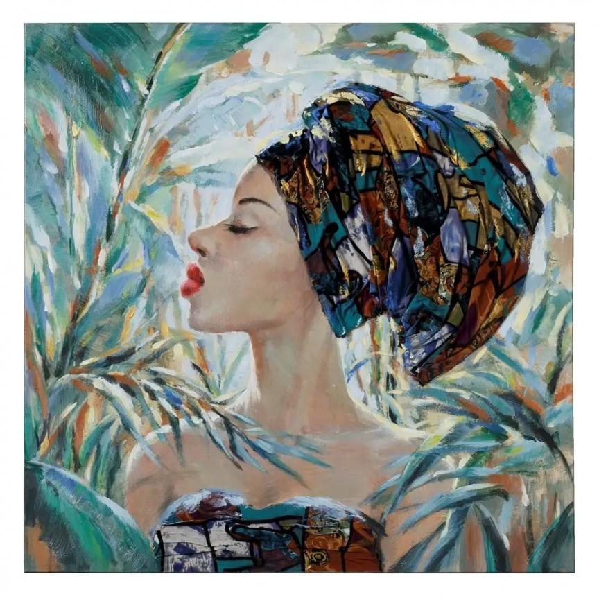 Tablou decorativ, pictura pe panza Africana, 90x90cm SX-108347, Corpuri de iluminat, lustre, aplice, veioze, lampadare, plafoniere. Mobilier si decoratiuni, oglinzi, scaune, fotolii. Oferte speciale iluminat interior si exterior. Livram in toata tara.