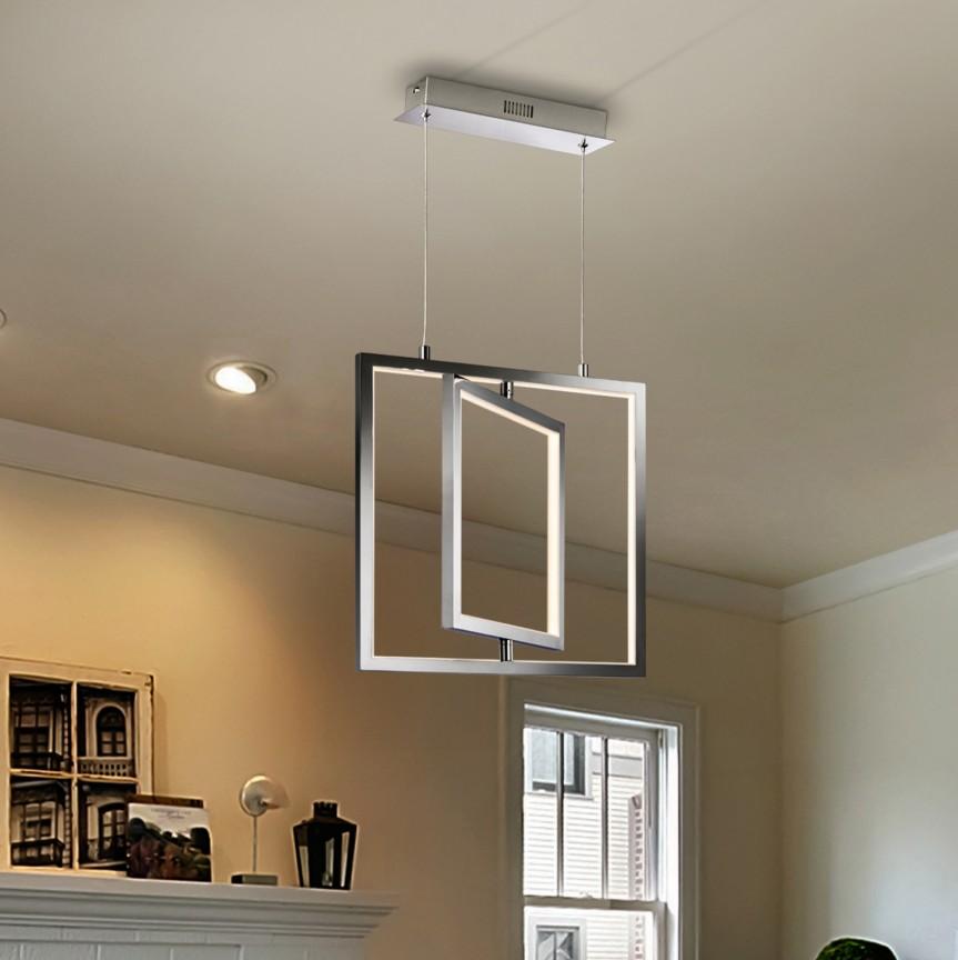 Pendul LED design ultra-modern Cuadros 33,6W crom SV-495703, Lustre LED, Pendule LED, Corpuri de iluminat, lustre, aplice, veioze, lampadare, plafoniere. Mobilier si decoratiuni, oglinzi, scaune, fotolii. Oferte speciale iluminat interior si exterior. Livram in toata tara.  a