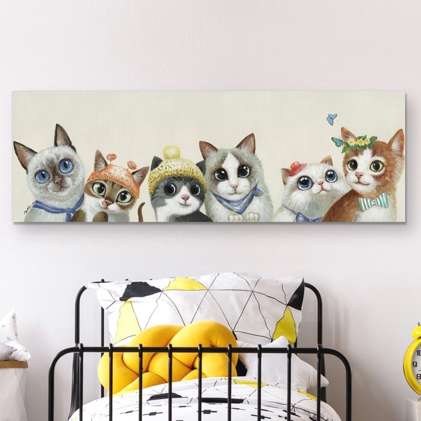 Tablou decorativ cu pisici Miau, 150x50cm SV-815470, Corpuri de iluminat, lustre, aplice, veioze, lampadare, plafoniere. Mobilier si decoratiuni, oglinzi, scaune, fotolii. Oferte speciale iluminat interior si exterior. Livram in toata tara.