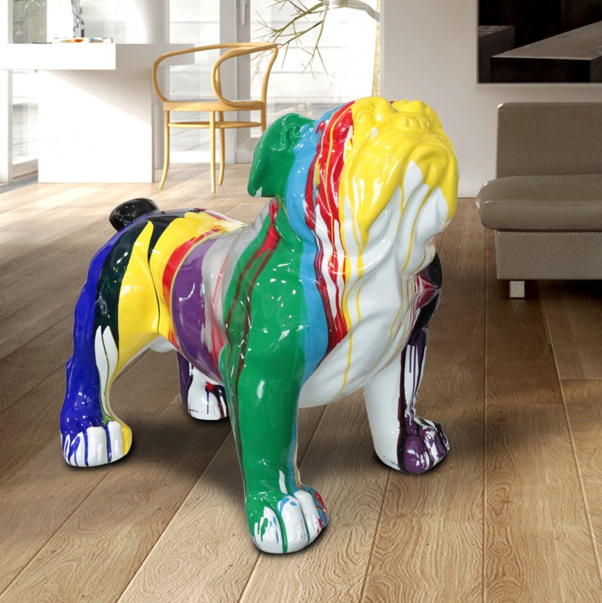 Figurina decorativa caine Bulldog XXL multicolor SV-431851, Statuete, Figurine decorative, Corpuri de iluminat, lustre, aplice, veioze, lampadare, plafoniere. Mobilier si decoratiuni, oglinzi, scaune, fotolii. Oferte speciale iluminat interior si exterior. Livram in toata tara.  a