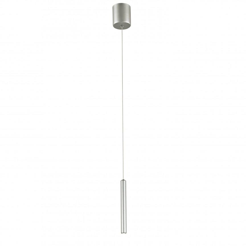 Pendul LED design modern minimalist CORNETTA argintiu, Lustre LED, Pendule LED, Corpuri de iluminat, lustre, aplice, veioze, lampadare, plafoniere. Mobilier si decoratiuni, oglinzi, scaune, fotolii. Oferte speciale iluminat interior si exterior. Livram in toata tara.  a