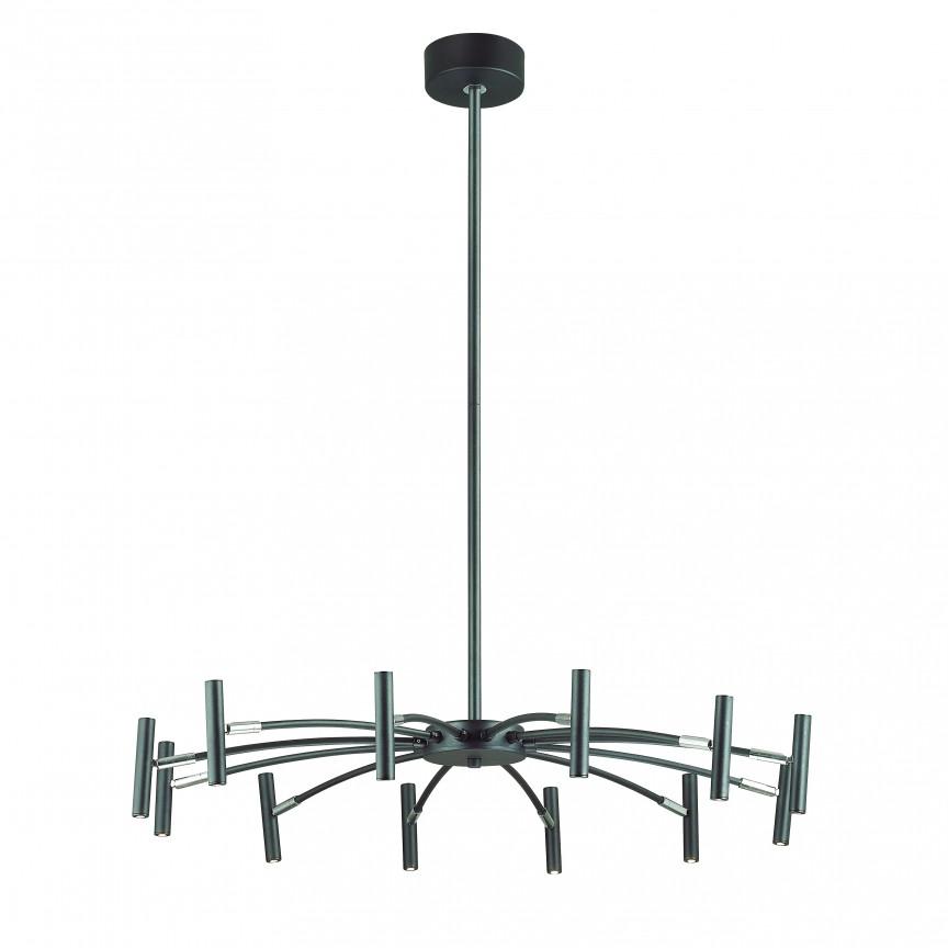Lustra LED cu 12 spoturi directionabile design modern CORNETTA neagra, Lustre LED, Pendule LED, Corpuri de iluminat, lustre, aplice, veioze, lampadare, plafoniere. Mobilier si decoratiuni, oglinzi, scaune, fotolii. Oferte speciale iluminat interior si exterior. Livram in toata tara.  a
