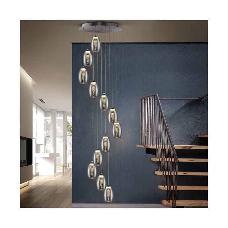 Lustra LED casa scarii cu 12 pendule, dimabila cu telecomanda Nebula SV-584541D, Lustre casa scarii, Corpuri de iluminat, lustre, aplice, veioze, lampadare, plafoniere. Mobilier si decoratiuni, oglinzi, scaune, fotolii. Oferte speciale iluminat interior si exterior. Livram in toata tara.  a