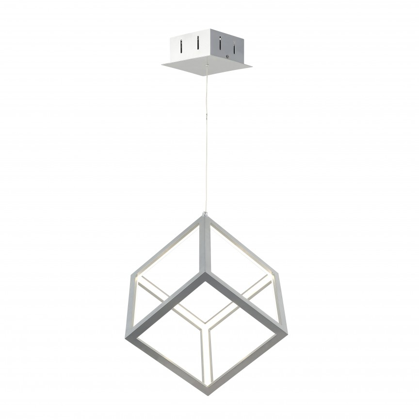 Lustra LED design modern CUBUS argintie, Lustre LED, Pendule LED, Corpuri de iluminat, lustre, aplice, veioze, lampadare, plafoniere. Mobilier si decoratiuni, oglinzi, scaune, fotolii. Oferte speciale iluminat interior si exterior. Livram in toata tara.  a
