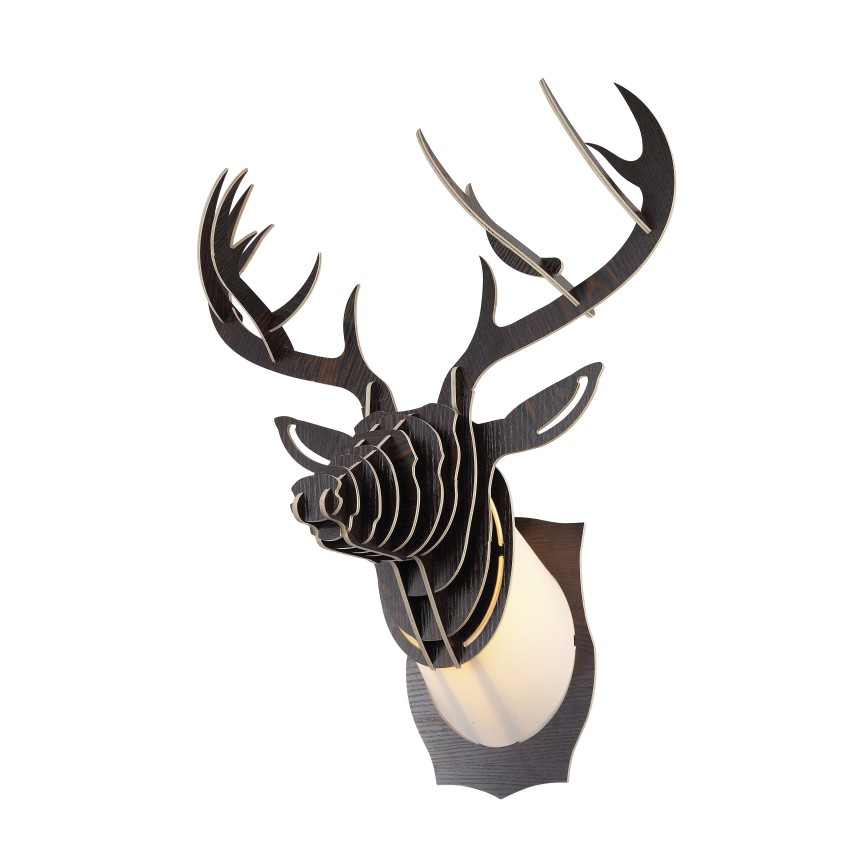 Corp de iluminat decorativ design cerb CERVUS wenge, Aplice de perete, Corpuri de iluminat, lustre, aplice, veioze, lampadare, plafoniere. Mobilier si decoratiuni, oglinzi, scaune, fotolii. Oferte speciale iluminat interior si exterior. Livram in toata tara.  a